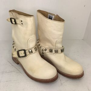 Frye Studded Cream Colored Boots